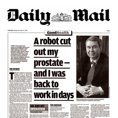 prostate surgery in Daily Mail